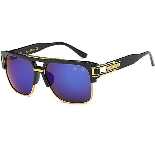 SHEEN KELLY Retro Oversized Sonnenbrille Metall Rahmen großen brille Square Spiegel herren damen Eyewear hälfte frame piloten Gold UV400 Blau Linsen