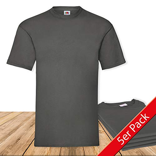 Fruit of the Loom Original  T Rundhals T-Shirt F140 5er Pack- Gr. XL, Light Graphite