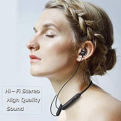 Écouteurs Bluetooth 5.0, FunCee -étanches IPX5 Support HiFi 7-9 Heures Playtime, Basses Riches, Casque sans Fil de Sport Jogging/Course à Pied, avec mic intégré pour iPhone Android Samsung, Noir par FunCee