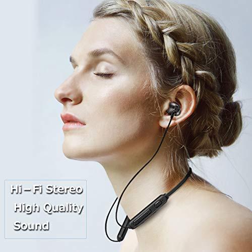 FunCee kabellose Bluetooth 5.0 Kopfhörer In Ear Ohrhörer 7-9 Stunden Spielzeit, Rich bass, Sport kopfhörer Joggen/Laufen, drahtlose Kopfhörer mit Mikrofon für iPhone Android Schwarz - 2