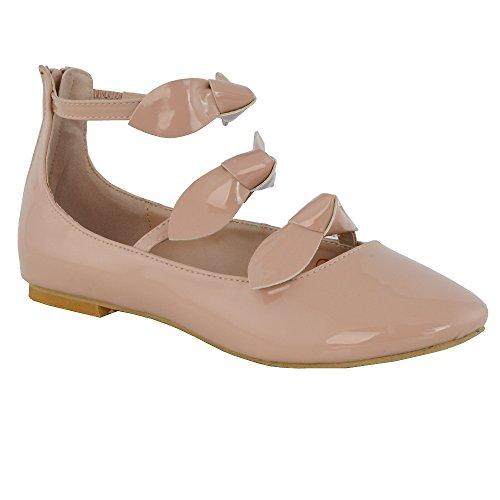 Essex Glam Synthétique Femme Chaussure Ballerine Strap Cheville Bow Faux Viande Patentato