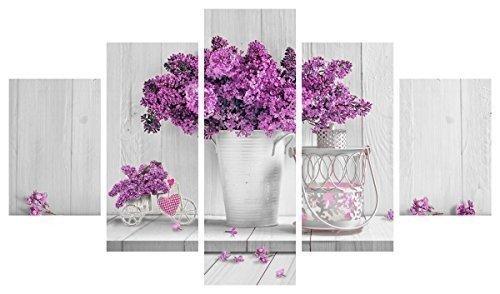 Quadro moderno 5piezas de madera Vogue 83x 145cm Purple Flowers