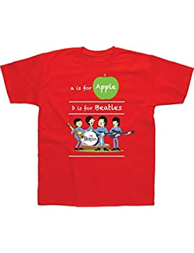 Spike Camiseta infantil The Beatles A is For Apple, Color Rojo
