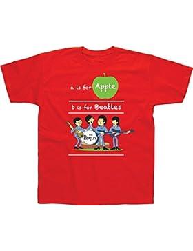 Spike Camiseta infantil The Beatles A is For Apple, Color Rojo