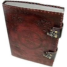 """Lederbuch Gästebuch Tagebuch /""""Pentagramm/"""" mit Blanko Seiten und Ledereinband"""