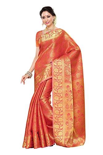 Mimosa Women\'s Traditional Art Silk Saree Kanchipuram Style, color :Straberry(3245-197-SD-STRAB)
