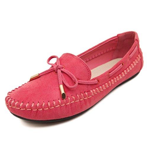 Minetom Donne Piselli Scarpe Scarpe Casual Piatte Con Bowknot Primavera Estate Autunno Scarpe Rosso 35
