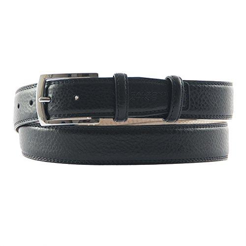 Cintura classica Titano, in vera pelle stampata cocco colore nera, dimensioni in cm: 130 L x 3,5 h