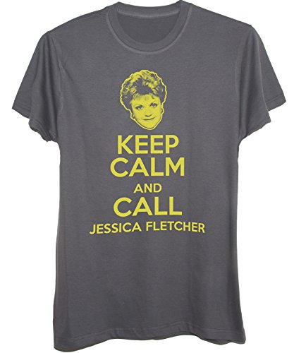 T-Shirt KEEP CALM E CHIAMA JESSICA FLETCHER-DIVERTENTE - by New Indastria Grigio scuro