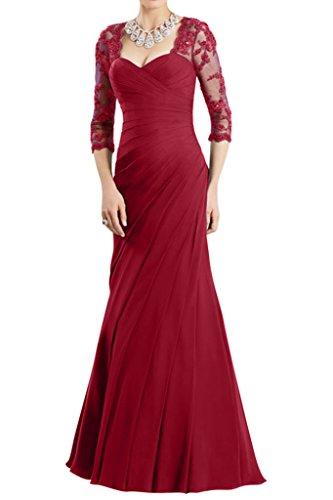 Gorgeous Bride Hochwertig Halb Aermel Etui Chiffon Spitze Lang Brautmutterkleid Abendkleid Festkleid Weinrot
