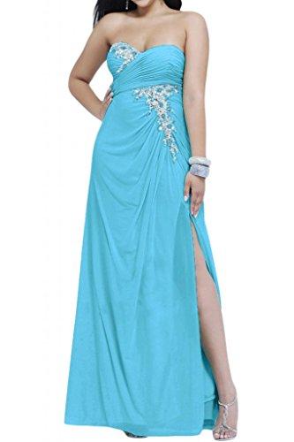 Toscana sposa Chic a forma di cuore kraftool Chiffon sposa giovane a lungo per abiti da sera un'ampia Party ball vestimento Blu