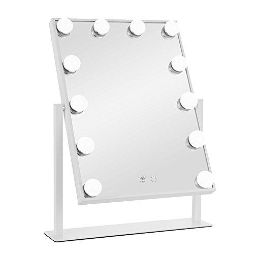 Miroir de courtoisie éclairé YQing avec ampoules LED intensité réglable 12 x 3 W et Touch Control Design, Style Hollywood, Miroir Maquillage Lumineux avec luminaires LED, Blanc