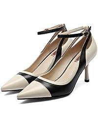 QOIQNLSN Scarpe Da Donna In Pelle Di Nappa Caduta Della Pompa Base Tacchi Stiletto Heel Bianco/Nero
