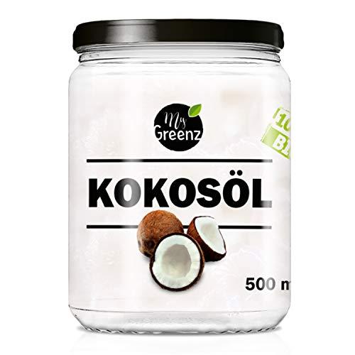 MyGreenz Bio-Kokosöl nativ - Nicht desodoriert - Zum Kochen, Backen und für die Haut und Haare - 500 ml