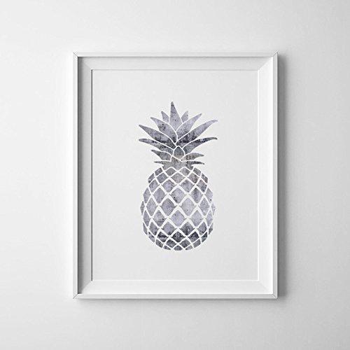 """Preisvergleich Produktbild Silber Küche Zubehör, grau Ananas, Ananas Decor Silber Folie Ananas Mädchen Kinderzimmer Art Jungen Wandbild Kunstdruck Tropical Decor Sommer, 6 x 8"""""""