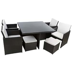 polyrattan essgruppe waikiki beach xl 21 teilig schwarz garten. Black Bedroom Furniture Sets. Home Design Ideas