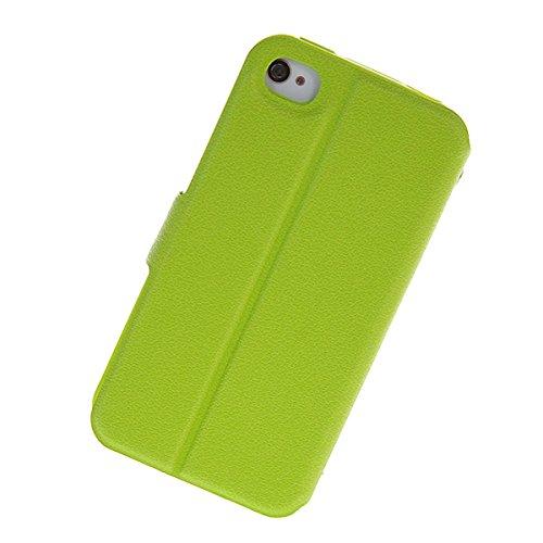 iPhone 4 4S Coque,COOLKE [Noir] View Window Flip Cover Coque Etui Housse de Protection ?tui ¨¤ rabat Case Pour Apple iPhone 4 4S Vert