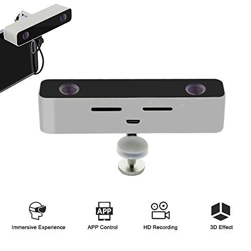 Tragbare Mini-Digital-VR 3D-Kamera mit Doppelobjektiv -Aluminium Material-Megapixel 720p HD-Video-Film-Camcorder für Android-Handy (Silber)