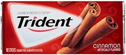 Trident Sugar Free Gum with Xylitol - Cinnamon, 18 Pieces Carton
