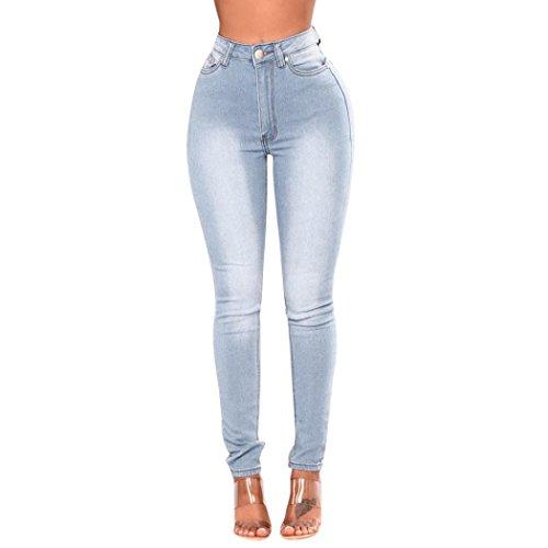 Frauen Hohe Taille Slim Bleistift Hose Denim Skinny Jeans mit Taschen, [Geschenk Valentinstag], blau, xl (Hose Junioren-low-rise-leggings)