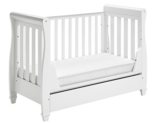 Babymore Eva Sleigh Cot Bed Dropside with Drawer (White Finish) + FOAM MATTRESS