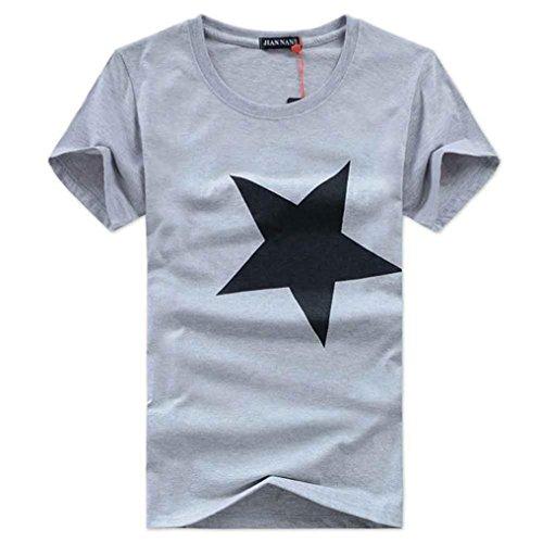 Shirt Herren, FEITONG Herren Slim fit T-Shirt Pentagramm Kurzarm Tops Casual Poloshirt Sommer Baumwolle Tee Basic Shirts Bluse (L, 03-Grau) (California Vintage Vintage-jersey)