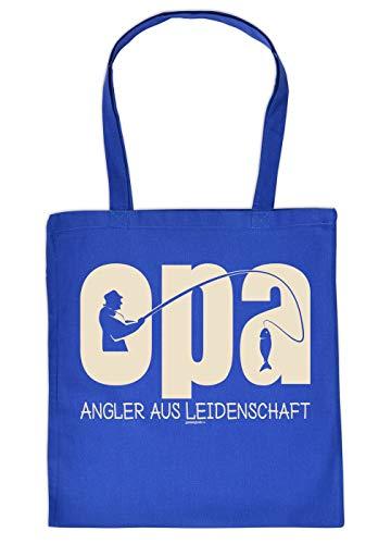 Einkaufstasche/Stoffbeutel Thema Familie lustige Sprüche: Opa Angler aus Leidenschaft