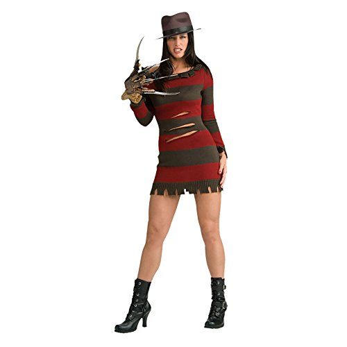 Original Lizenz Miss Krüger Nightmare on Elm Street Damenkostüm Freddy Krüger Set Kostüm Maske Freddyset Handschuh Shirt Halloween Horror für Damen Gr. XS, S, M, Größe:XS