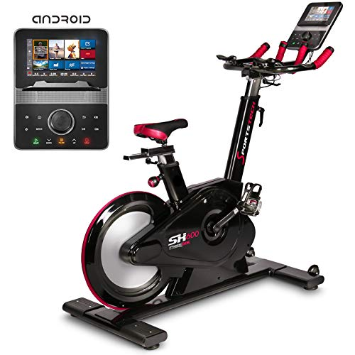 415gKW%2BvjBL. SS500  - Sportstech SX600 Elite Indoor Cycle Bike with Smart Android Console, Magnetic Brake System, 26KG Flywheel, 3in1 Aero Speed Handlebars, Computer-controlled Resistance with 32 Steps & Track Simulation