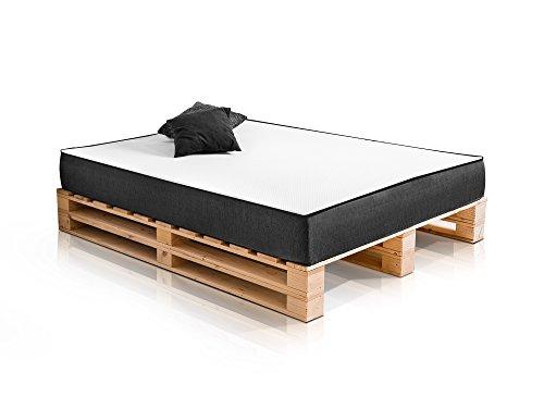 PALETTI Massivholzbett Duo Holzbett Palettenbett Bett aus Paletten mit 11 Leisten, 180 x 200 cm, Fichte Natur