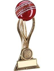 jr6-rf516a Brz/oro pelota de críquet de 3puntas Riser trofeo–(1in Centre) 6.5in–incluye grabado gratis (hasta 30caracteres)