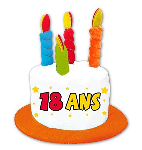 Chapeau anniversaire 18 ans gâteau