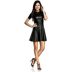 oodji Ultra Mujer Vestido de Piel Sintética con Falda Acampanada, Negro, ES 34 / XXS