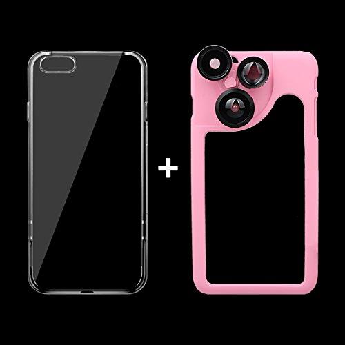 """xhorizon FM8 für iPhone 6 Plus / iPhone 6S Plus [5.5""""] Handyhülle mit 4 in 1 Objektiv-Set Fischaugen/ Makroobjektiv/ Weitwinkelobjektiv/ Teleobjektiv(rosa) rosa"""