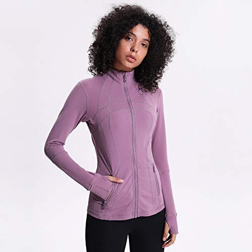Frauen Langarm Fitness T-Shirt Sport Yoga Reißverschluss, Pink, 8 - 08 Womens Pink T-shirt