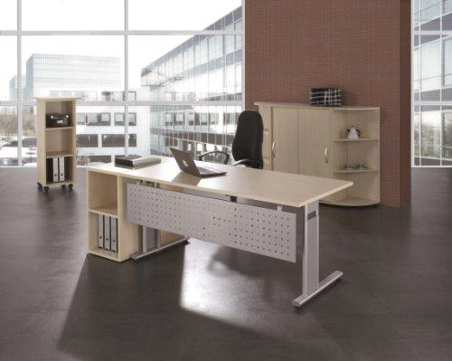 Gera Möbel S-617103-BU/SI Schreibtisch Lissabon, 160 x 80 x 68-82 cm, buche / silber -