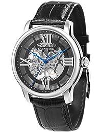 Thomas Earnshaw Longitude ES-8062-01 Montre mécanique pour homme Avec cadran noir à mécanisme apparent et bracelet en cuir noir