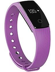 TINCINT ID107 Pulsera inteligente deportiva, con reloj, monitor de frecuencia cardiaca, Bluetooth, seguimiento de actividad, contador de calorías, compatible con móviles Android e iOS, color morado