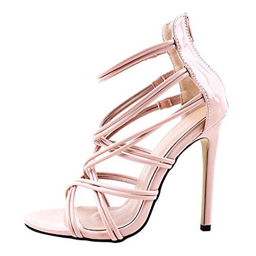 Juleya Frauen Sommer Sandalen Damen Kätzchen High Heel Sandaletten Strappy Bridal Zip Ankle High Heels offene Zehe Schuhe Strappy High Heel-schuhe
