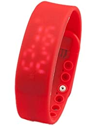 SODIAL(R) 3D LED Impermeable Pedometre Montre de sante podometre Temperature montre de sport Fitness L'activite de veille log Calorie compteur-Rouge