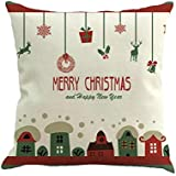 TENDYCOCO Christmas Theme Throw Pillow Cover Decorative Linen Pillow Case Pillowslip For Home Sofa Bed Chair