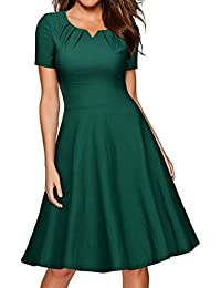 Miusol Damen Cocktail Vintage 50er Kleid Knielang Ballkleid Rockabilly Abendkleid Grün Gr.S-XXL