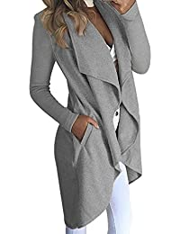 Vin beauty wlgreatsp Mujer Oto帽o Invierno Irregular Cardigans de Punto Abrigos Casuales
