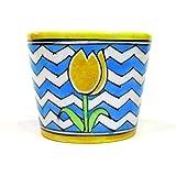 """Aurea Blue Pottery Table Top / Window Planter or Flower Pot 3.75"""""""