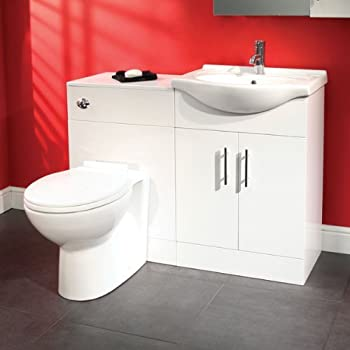 55 Bathroom Wc Combination Unit Modern White Design Reversible Vanity Basin And Toilet