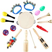 MVPower Musical Percussion Set Musical Instruments Rhythm Educational Set 16 Pieces for Toddlers Preschool Children with Carrying Bag