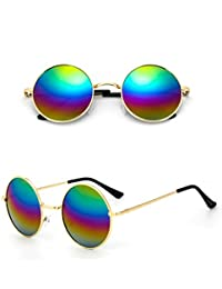 f66d3b9fb72029 Chic-Net Lunettes de soleil unisexe lunettes rondes hippie John Lennon  teintées 400UV long Ponton