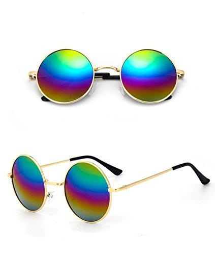 Sonnenbrille Unisex Rund Hippie Brille John Lennon getönt 400UV langer Steg Regenbogen