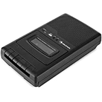 auna RQ-132USB - Grabadora de Casete portátil , Puerto USB , Altavoz Integrado , Reproductor y Grabador de Cintas , Dispositivo de Dictado por micrófono , Asa Transporte , Pilas o Corriente , Negro