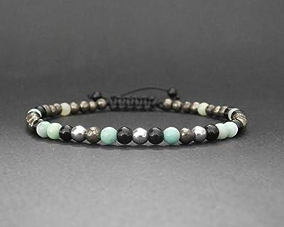 Bracelet homme/femme pierres naturelles opale verte, pyrite, hématite et onyx